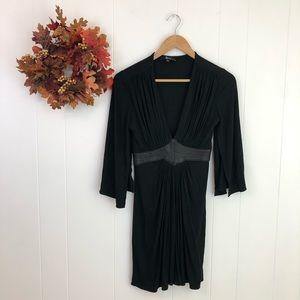 SKY Black Faux Leather Waist Grecian Style Dress